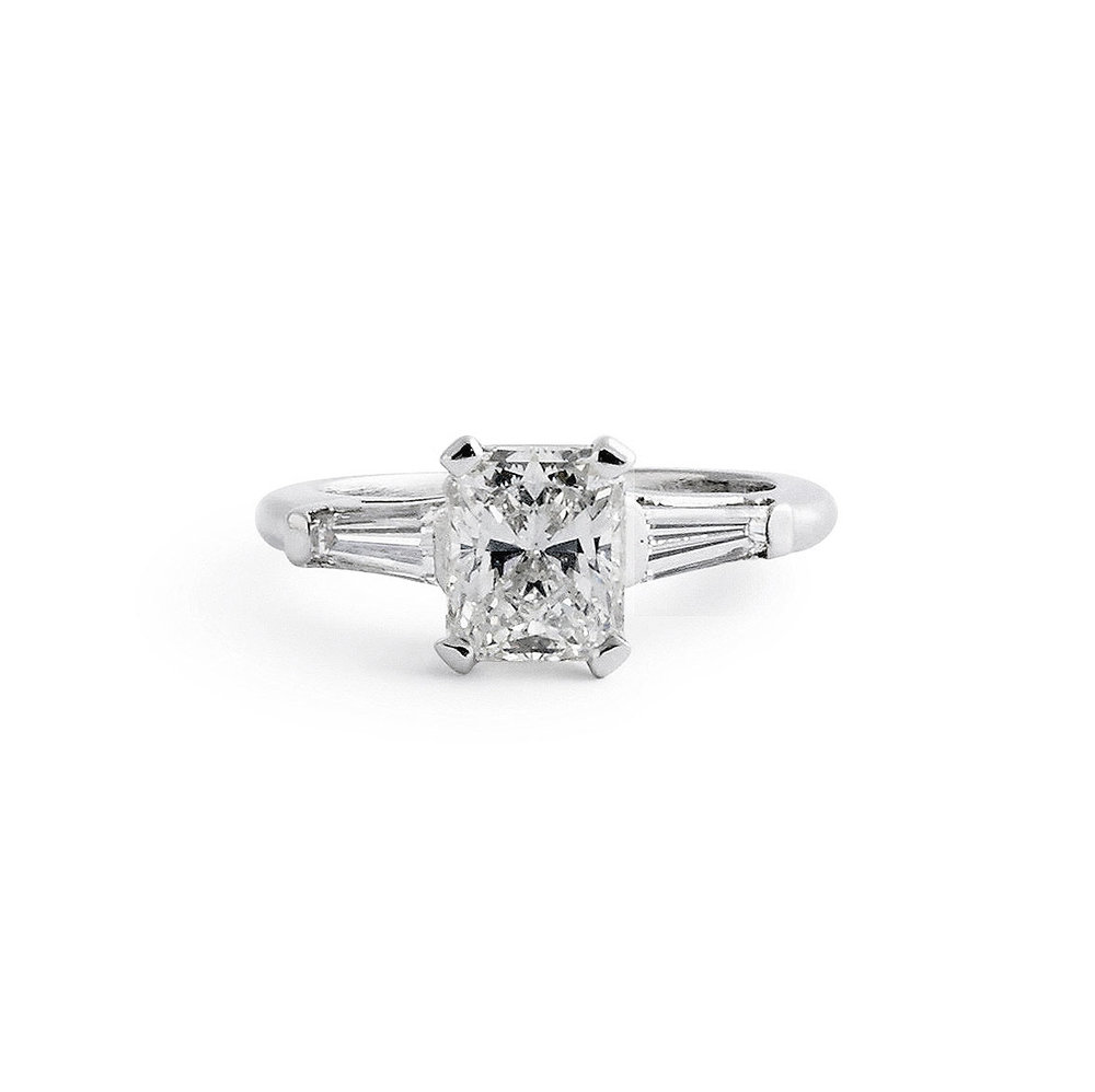 7080403cb Jewelry By Marsha — Radiant Cut Solitaire Engagement Ring With Baguettes