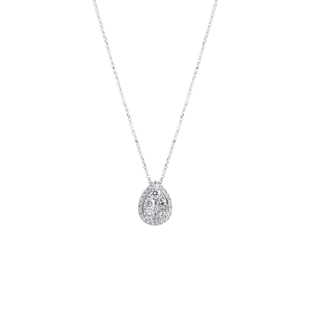 shaped carat pear with pendant halo diamond necklace