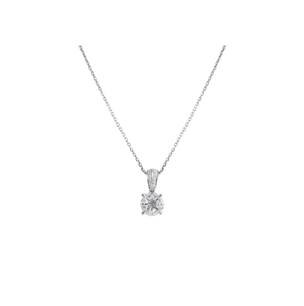 tradesy brilliant gold i necklace white bezel set solitaire diamond