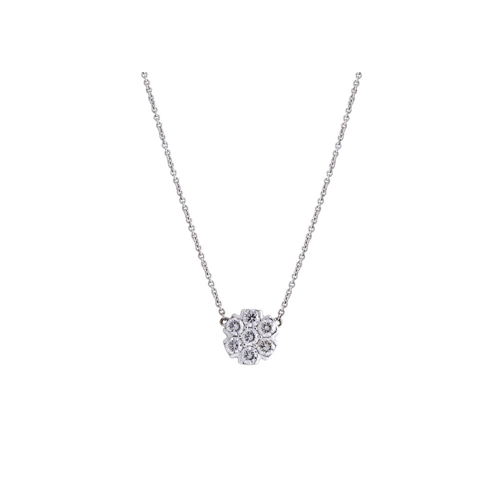 Jewelry by marsha diamond flower cluster pendant necklace diamond flower cluster pendant necklace aloadofball Image collections