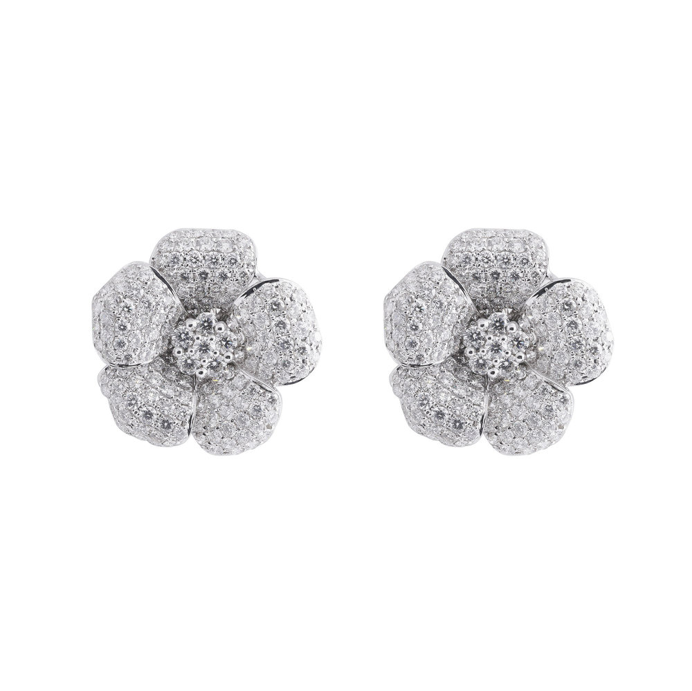 Jewelry By Marsha Large Diamond Flower Earrings