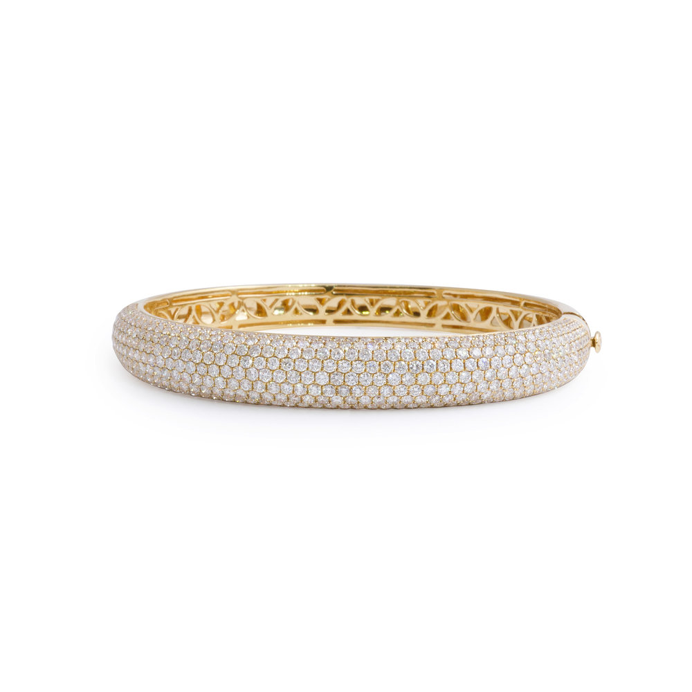 bangles solid diamond pave bracelet white round bangle bracelets gold