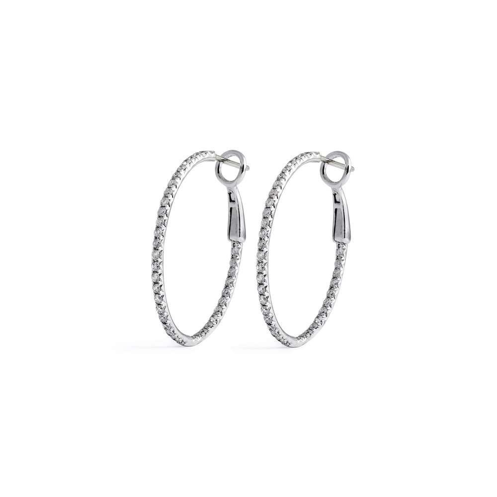 handpicked silver oval glistening earrings