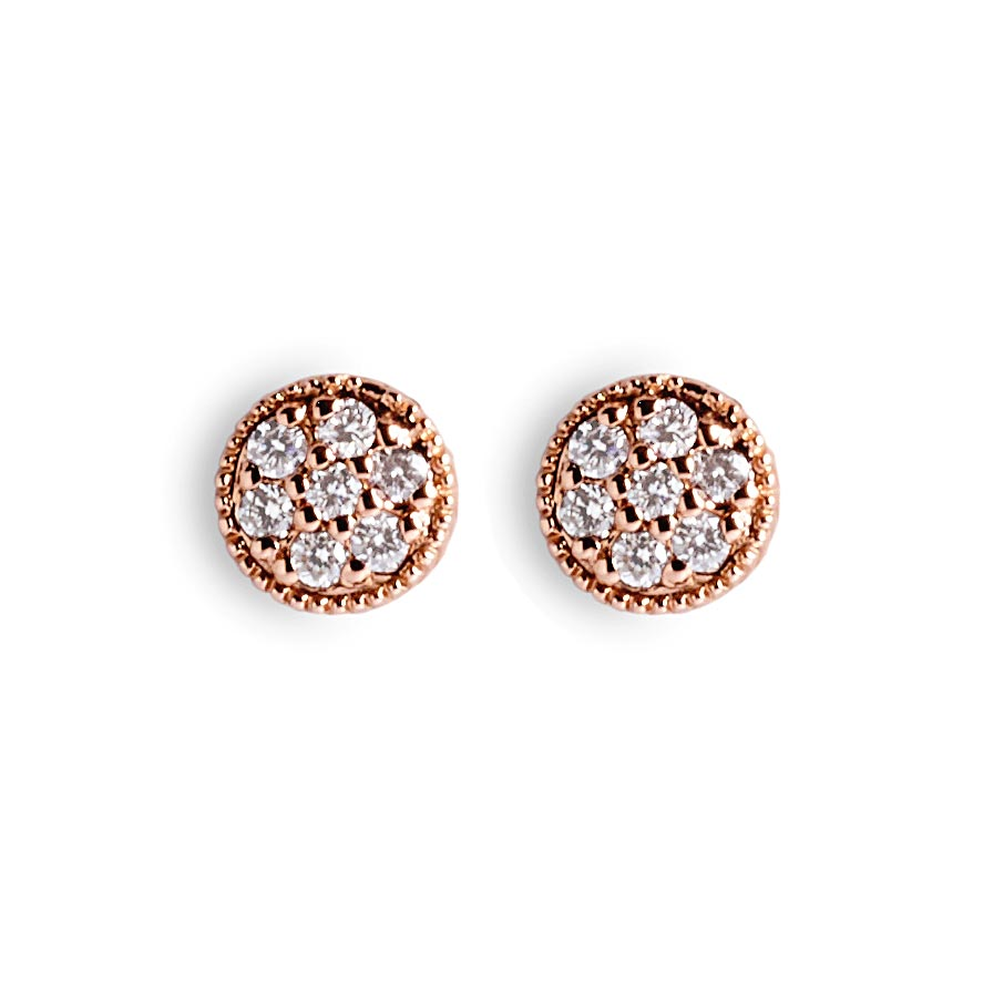 gold earrings small studs cluster diamond