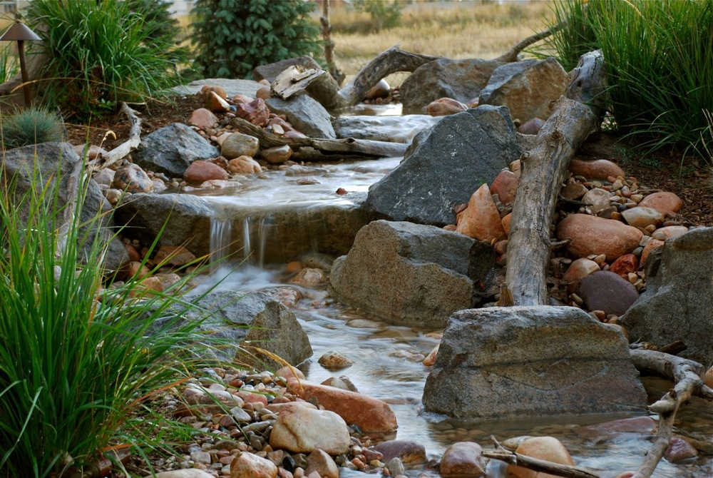 Garden water falls and stream.