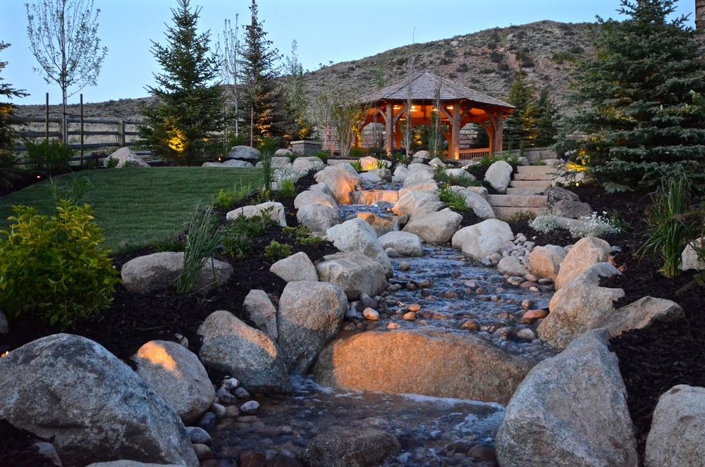 Garden stream with rocks.