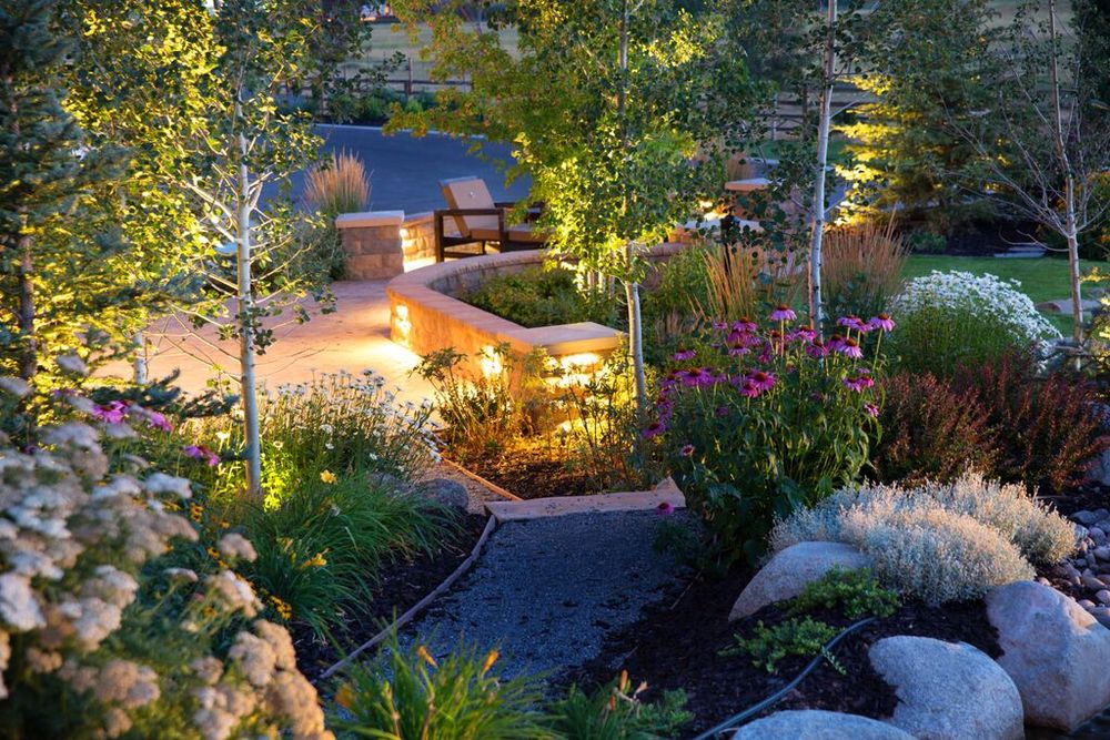 Garden lighting by Utah's Platinum Landscape & Pools.