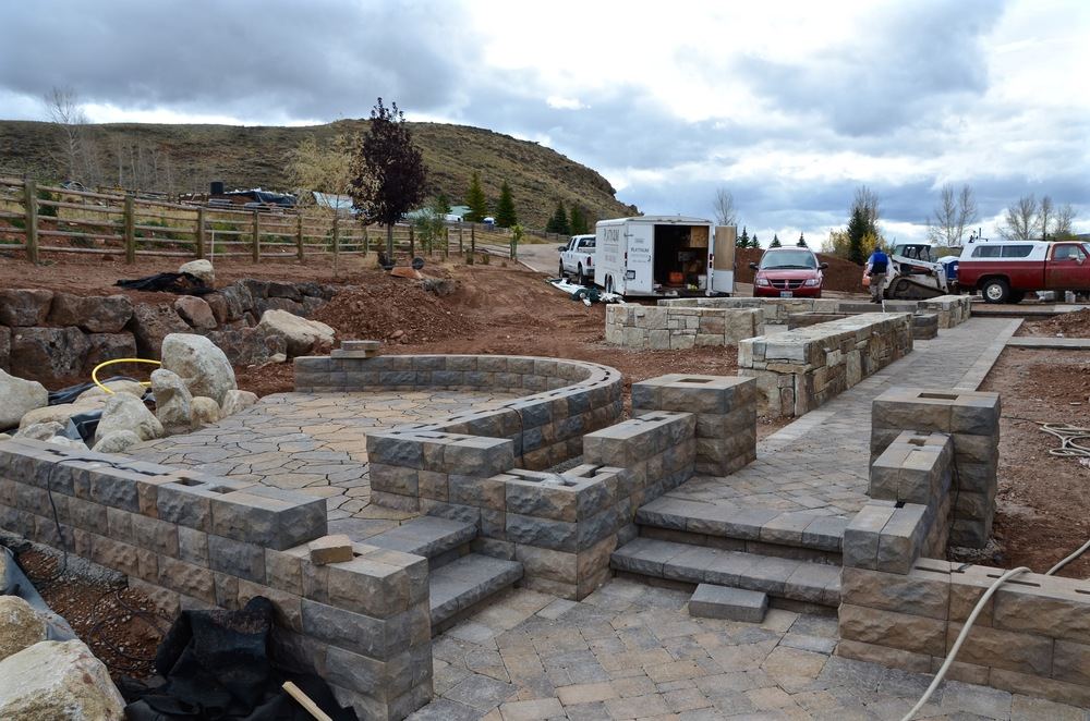 Wall set out and construction by Platinum Landscape & Pools.