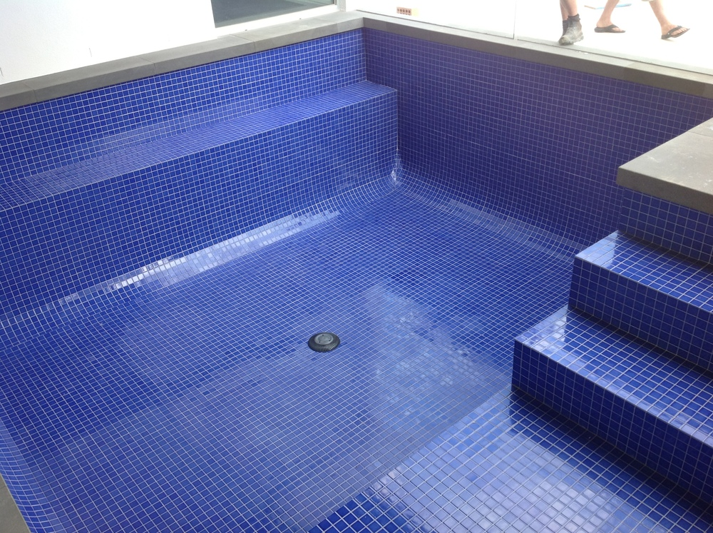 Ceramic fully tiled swimming pool interior.