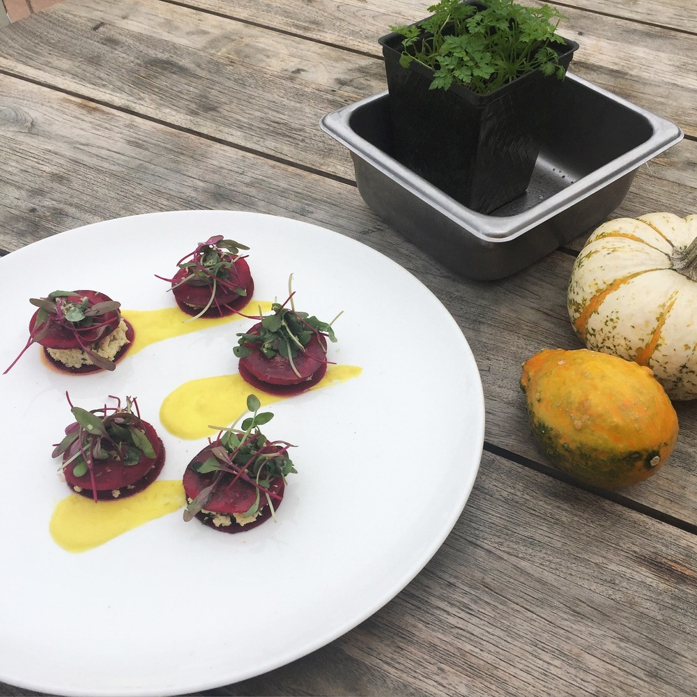 Red Beet Ravioli with Cashew Cheese, Pistachios & Bell Pepper Puree.