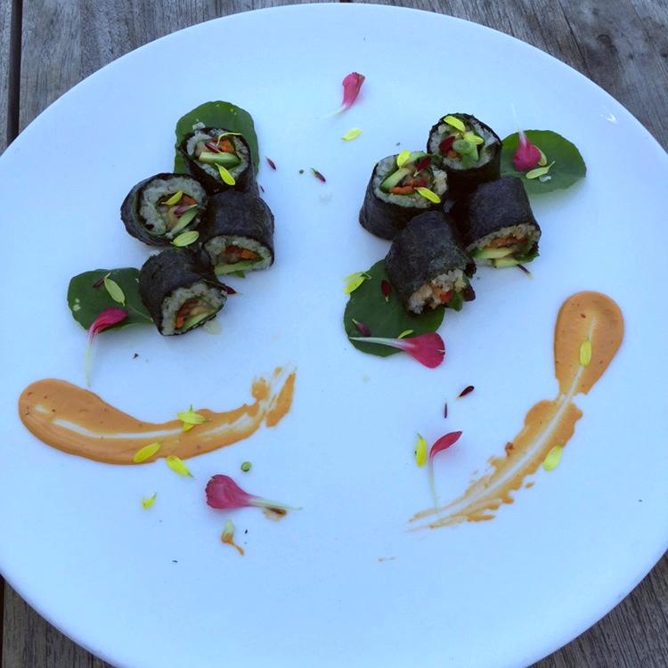Sushi roll with Jicama Rice, Shiitake Mushrooms & Chipotle Mayo.