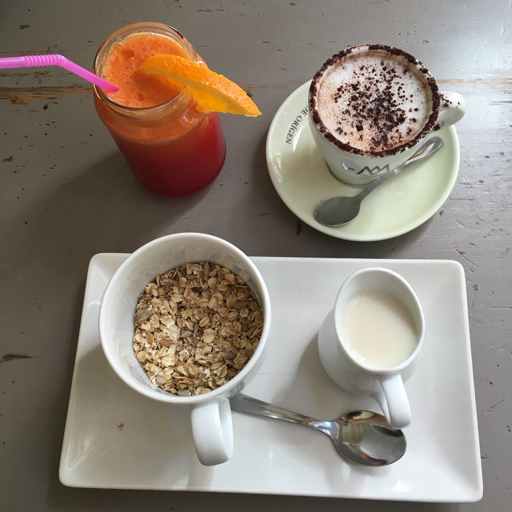 Cafe Carmelia. Best cacao-cappuccino in the world!!! With plantbased milk.