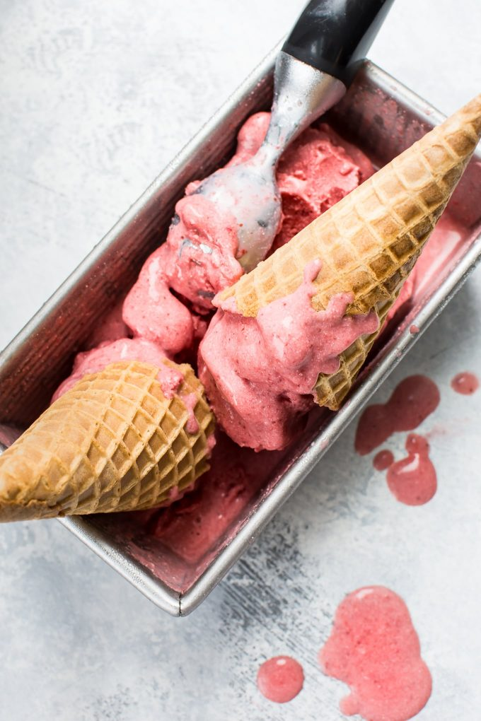 2-Ingredient Vegan Strawberry Ice Cream - (No Churn, Dairy-Free, No Added Sugar)