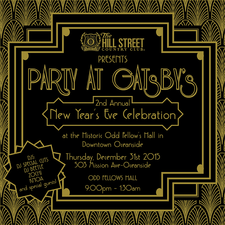 HSCC's NYE Celebration at the historic 1924 Odd Fellows in Downtown Oceanside. Support HSCC'sYouth Summer Double Exposure Photography Camp, Art Pop-up events, Exhibitions, Community Workshops and Coastal Collective Mural Project for our 2016 programming calendar.   There is no other place in North County to celebrate New Year's Eve than HSCC Gallery Gatsby's thematic celebration. This celebration is only for the movers & shakers who can dance and mingle in Glam House of music and art until 2am. Here are the highlights: Five Live Performing DJs, Flapper Party Favors, Art Silent Auction, Video Art Installation, DIY Silkscreen T-Shirt Print lab, 1924 Inspired Photo Booth, Champagne, Beer, Craft Cocktails, Appetizers and more… Dress Code: Flapper Roaring 20's theme encouraged, but not required.