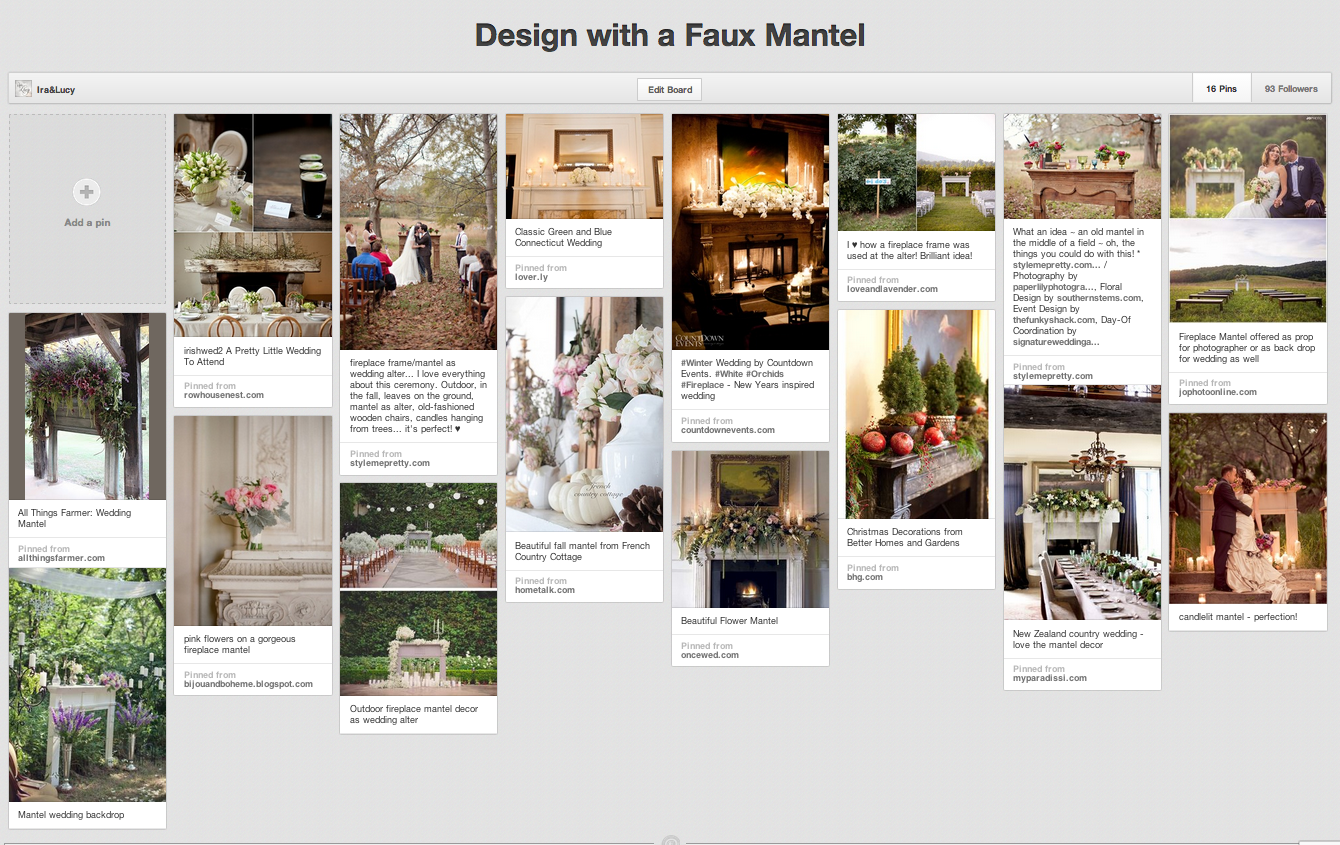 Faux Mantel Pinterest Board