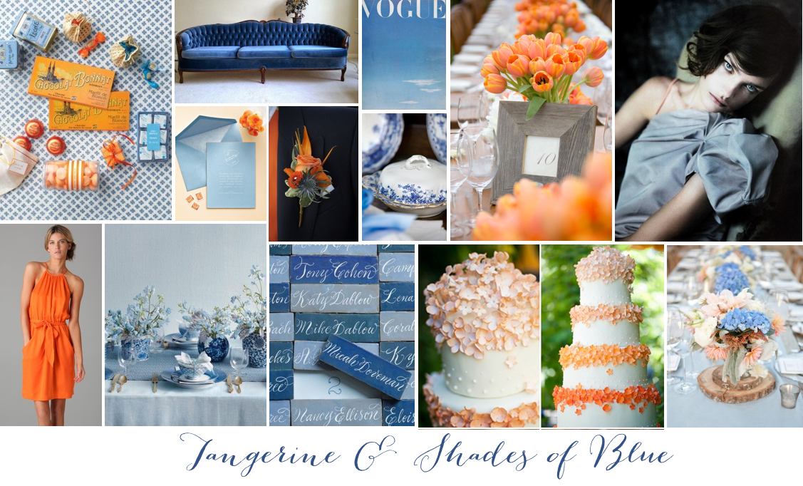 Tangerine & Shades of Blue Idea Board