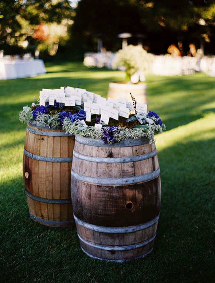 wine barrel escort cards