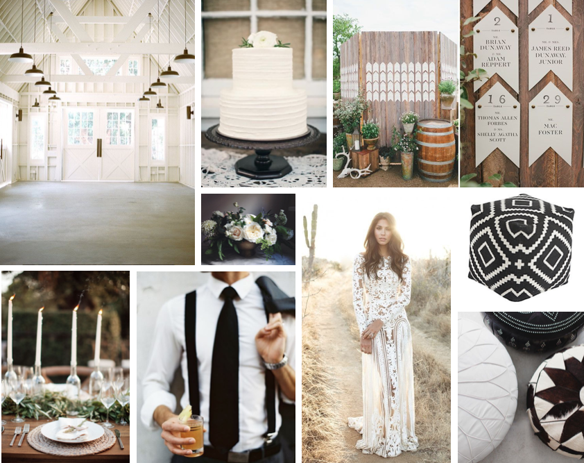 Black and White Bohemian Wedding Board