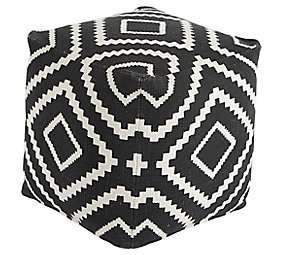 black white geometric pouf