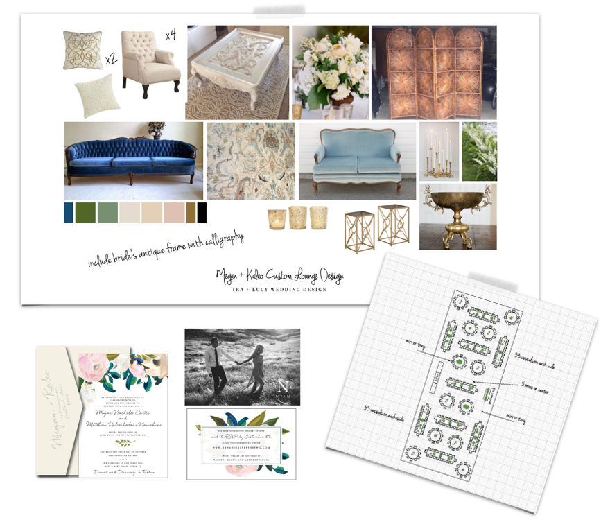 Custom Designed Wedding by Ira + Lucy. Schematics for table layout and floral placement. Signature Design Boards for each Vignette. Collaboration with Paperie + Pen who knocked the invitation suite out of the park!