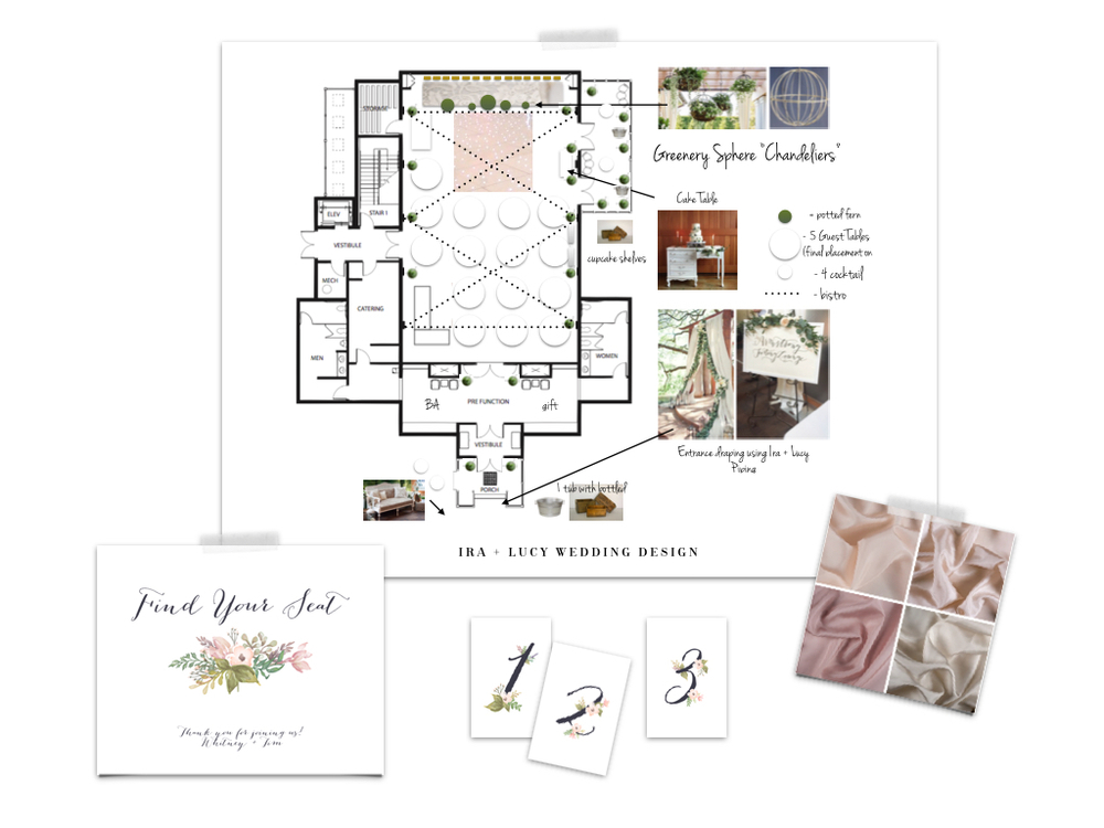 Custom Wedding Design by Ira + Lucy. Custom schematic for reception and ceremony. Custom signage and table numbers to fit Bride's Invitation Suite and Menus ordered from minted.com