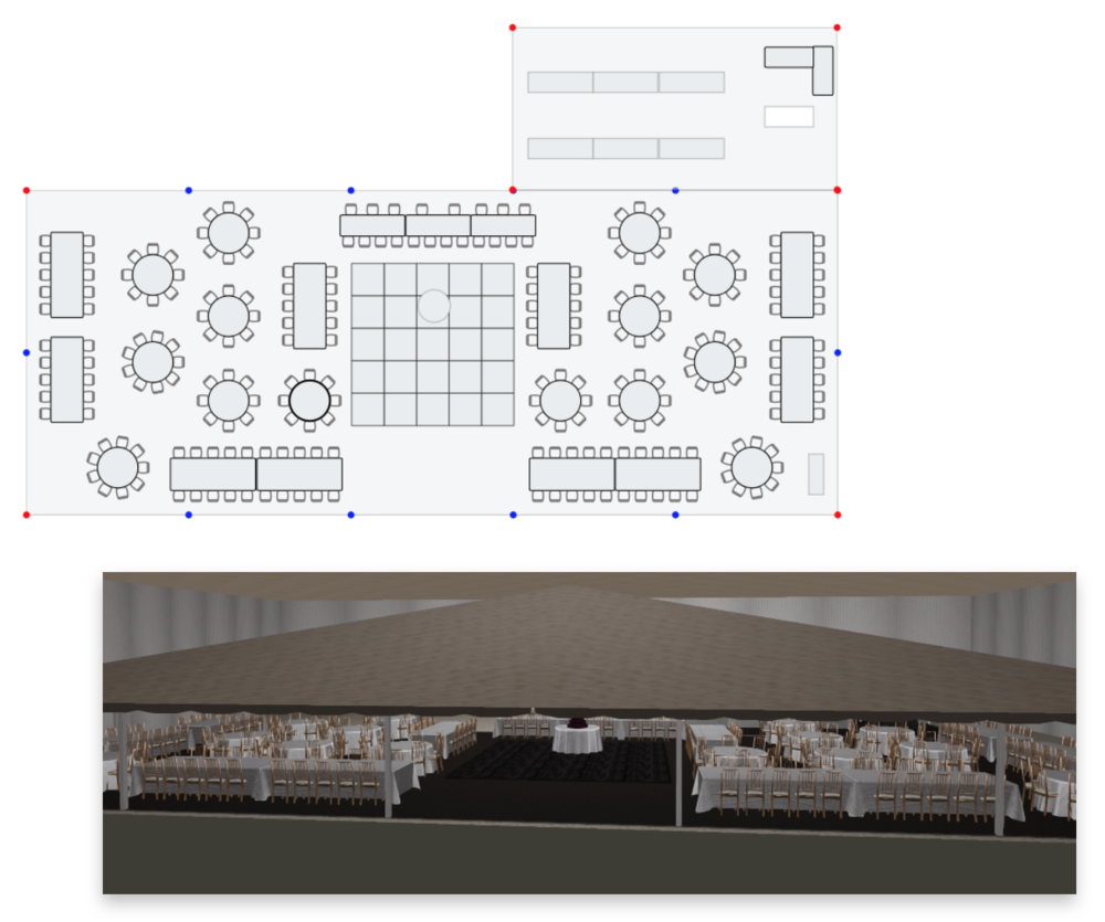 Ira and Lucy Wedding Planning, Floor Plan Schematics and Renderings