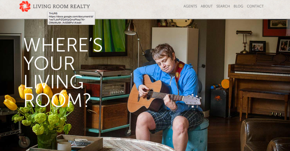 Screen shot of Living Room Realty's homepage. The firm features images of actual clients in their home.