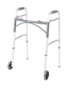 "Belair Care Ctr - Deluxe Two Button Folding Walker with 5"" Wheels"
