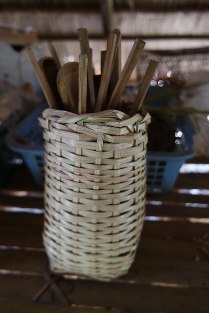 Bamboo basket and spoon made by students and volunteers