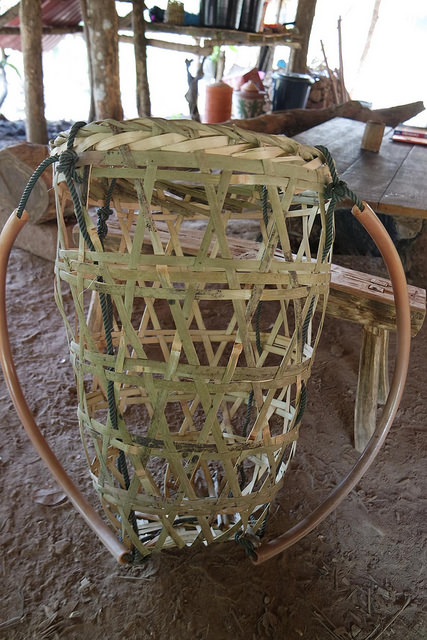 Bamboo basket for shopping in the local market