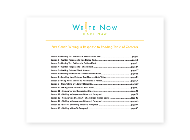 First Grade Sample by Write Now Right Now