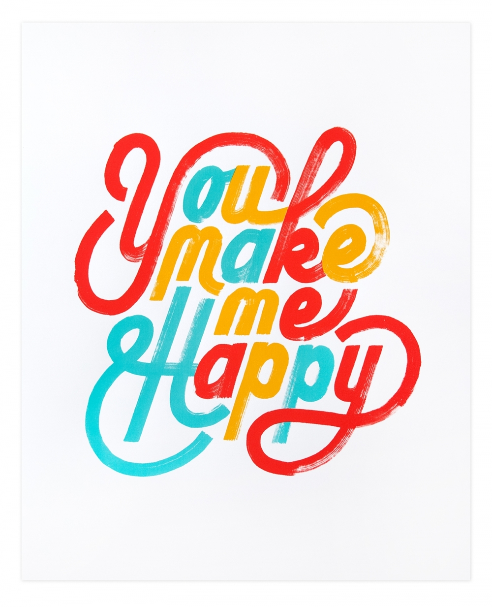 typeworship :     Happy Letters  Loving this monoweight lettering by  Erik Marinovich .It' so light a fun you could just eat it!  It's available as a screenprint at the friends of type  shop .