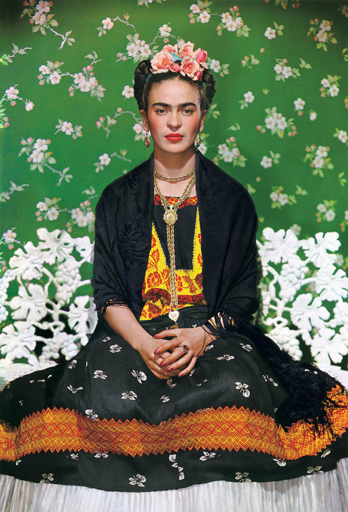"""Frida on white bench"", New York, 1939   Frida Kahlo photographed by Nickolas Muray"