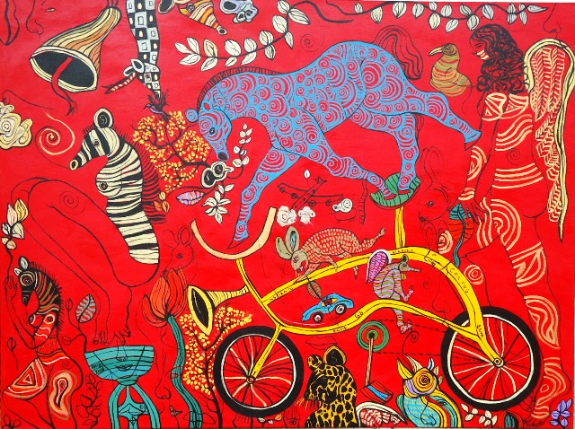 centralamericacontemporary :     Braulio Matos | Panamá      Caballo Azul   | 2012  | acrylic on canvas