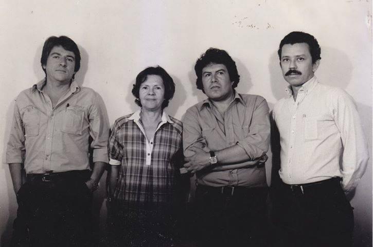 salvadoranarthistory :     Modernist Salvadoran Artist Hangout [left to right] César  Menéndez ,  Julia Díaz ,  Antonio García Ponce  y  Roberto Galicia .  Foto cortesía de Manuel Umaña