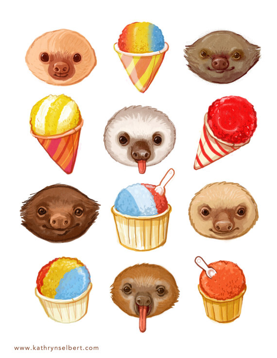visualgraphc :      Sloths and Snow cones    Kathryn Selbert