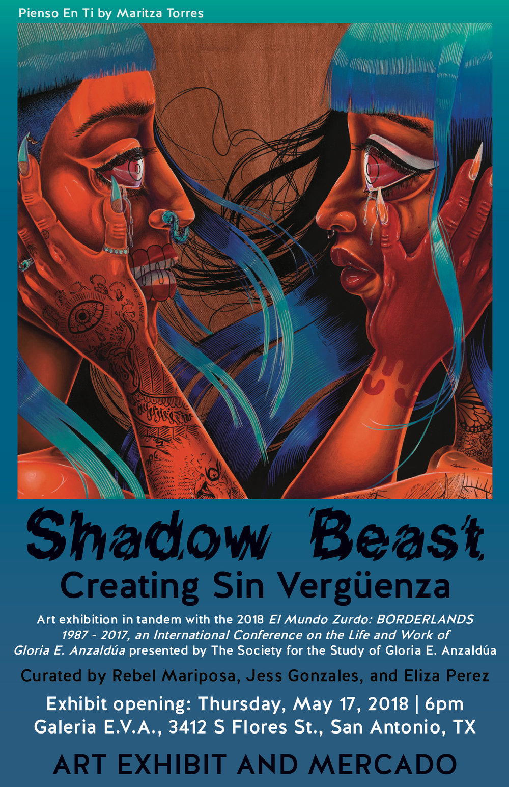 Event Flyer for Shadow Beast: Creating Sin Vergüenza, an art exhibition and mercado in San Antonio, TX on May 17, 2018.