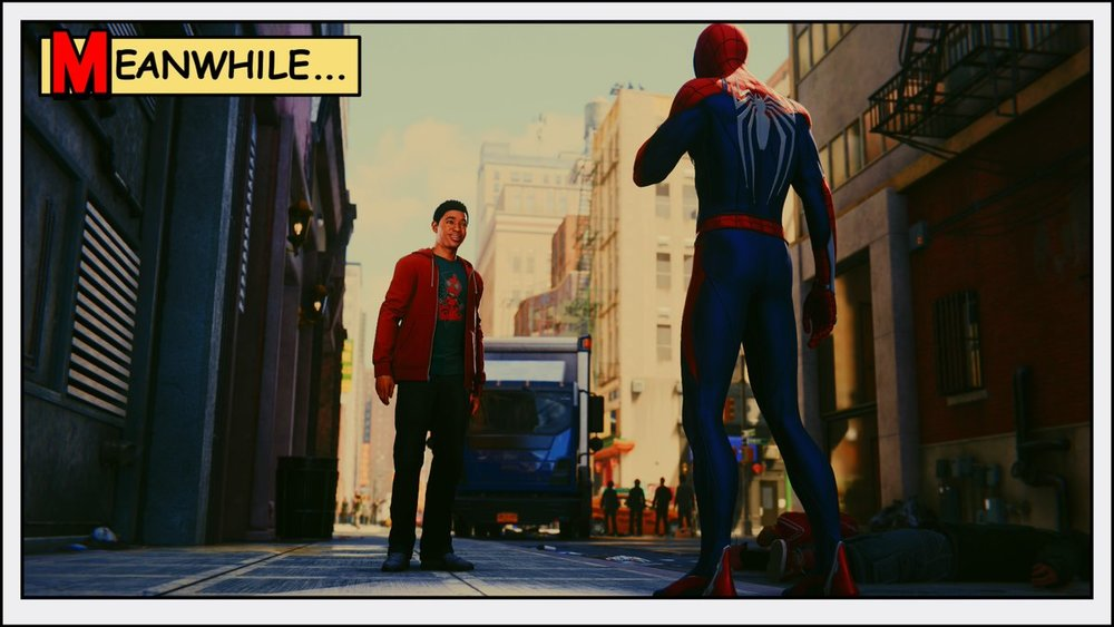 Spider-Man and Miles Morales having a heart-to-heart.