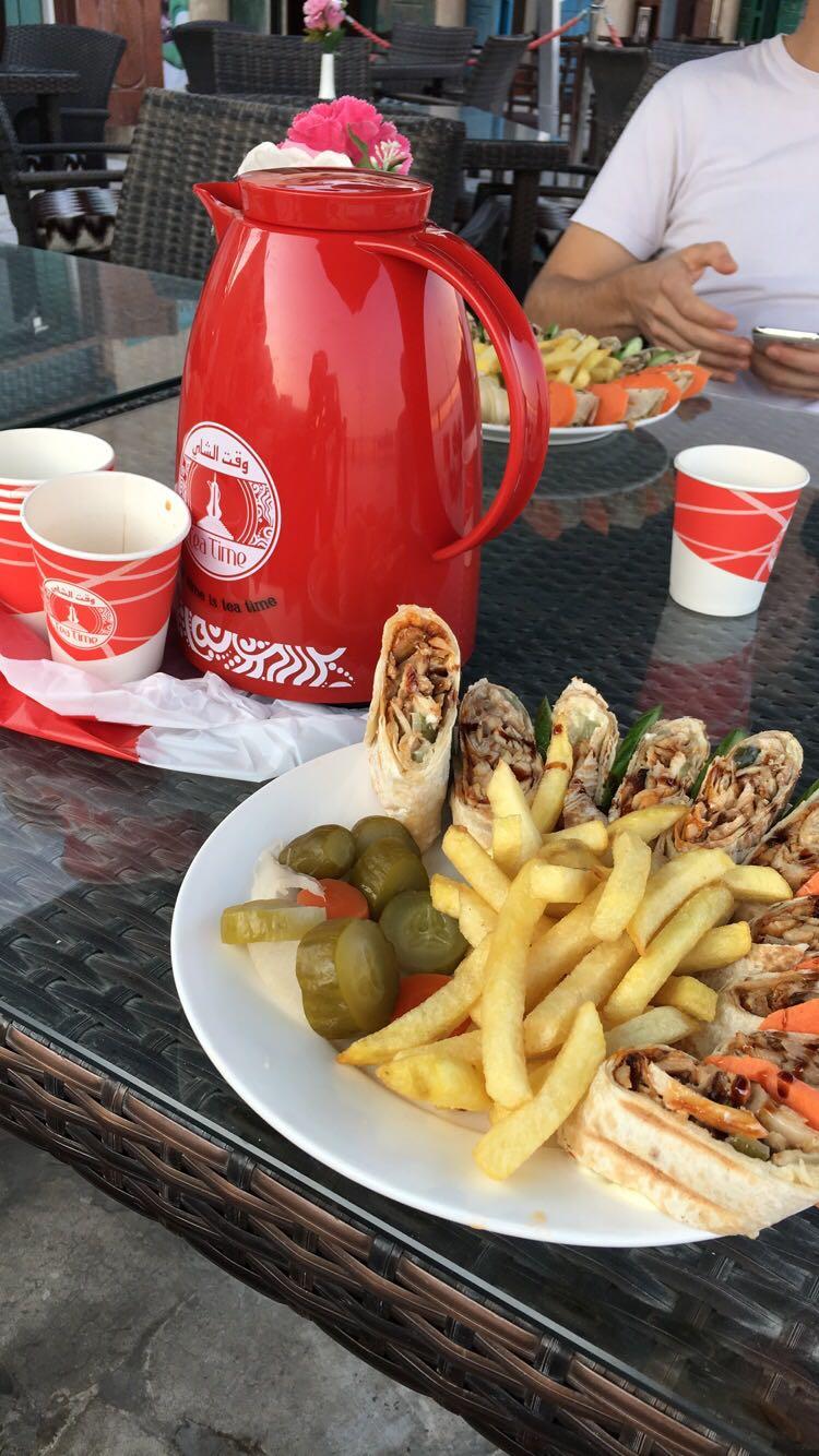 Karak and shawarma.
