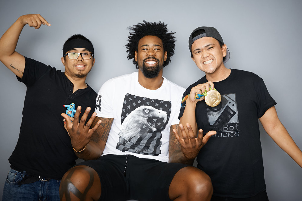 LA Clipper and 2016 Gold Medalist Deandre Jordan at a recent photoshoot shot at the LA Clippers headquarters.
