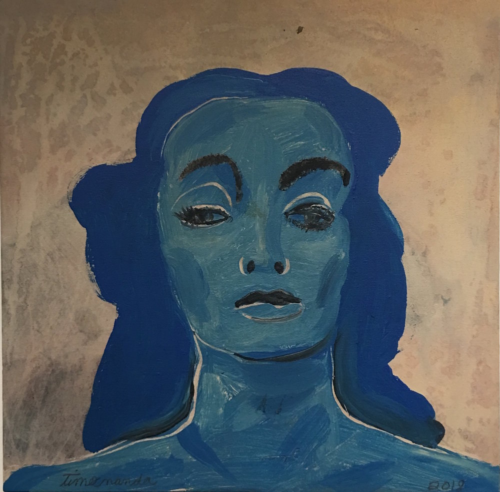 BLUE LADY     (BASED ON AN IMAGE OF KATHARINE CORNELL)    PAINT & INDIA INK ON CANVAS    20X20 inches.      $1,600    IN THE COLLECTION OF AN UNDISCLOSED COLLECTOR
