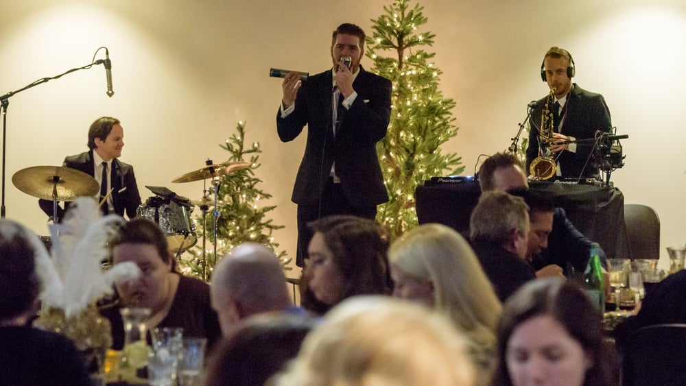 Conn added perfect percussion touches to his vocal performance. A truly multi-talented live jazz singer!  (Photo credit: Really Photography, http://really.photography)