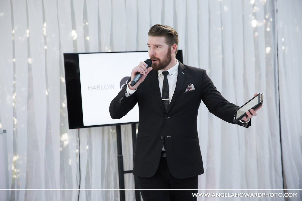 Conn with his usual poise as the event MC.@utahbridemag #UBGWhiteParty Photo credit: Angel Howard Photography
