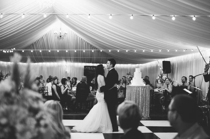 The couple's first dance was performed live by wedding jazz band Gold Standard.