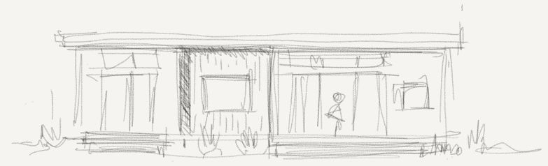 Sketch of the tall elevation thinking about the massing and windows - how much glass relative to wall space? The indented space creates a natural change of material and a way to separate the bedroom experience from the living spaces.