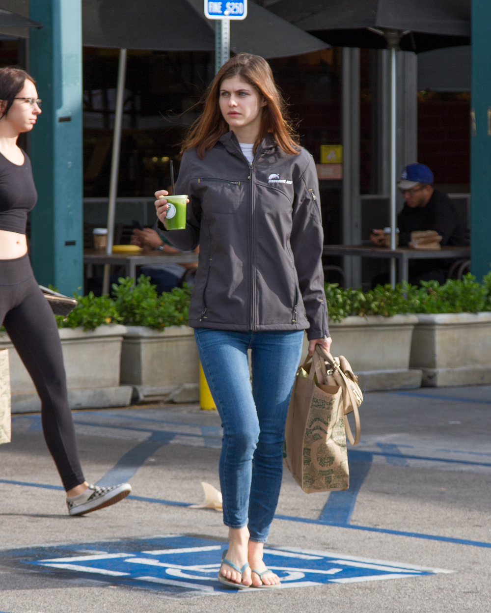 Alexandra Daddario  leaving Whole Foods with a healthy drink and a healthy awareness of one of history's worst genocides.