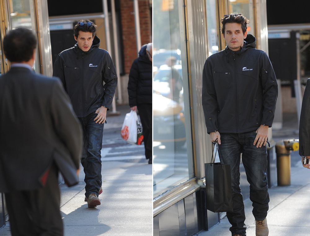 Rock 'n' Roll singer  John Mayer  sporting a Summit Ice softshell while doing some shopping in New York's Upper East Side.