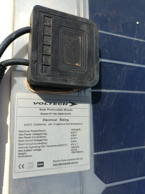 Existing Voltech 100W and 60W (total 160W) flat thin solar panels only produced a maximum of 1.5Amps at midday.