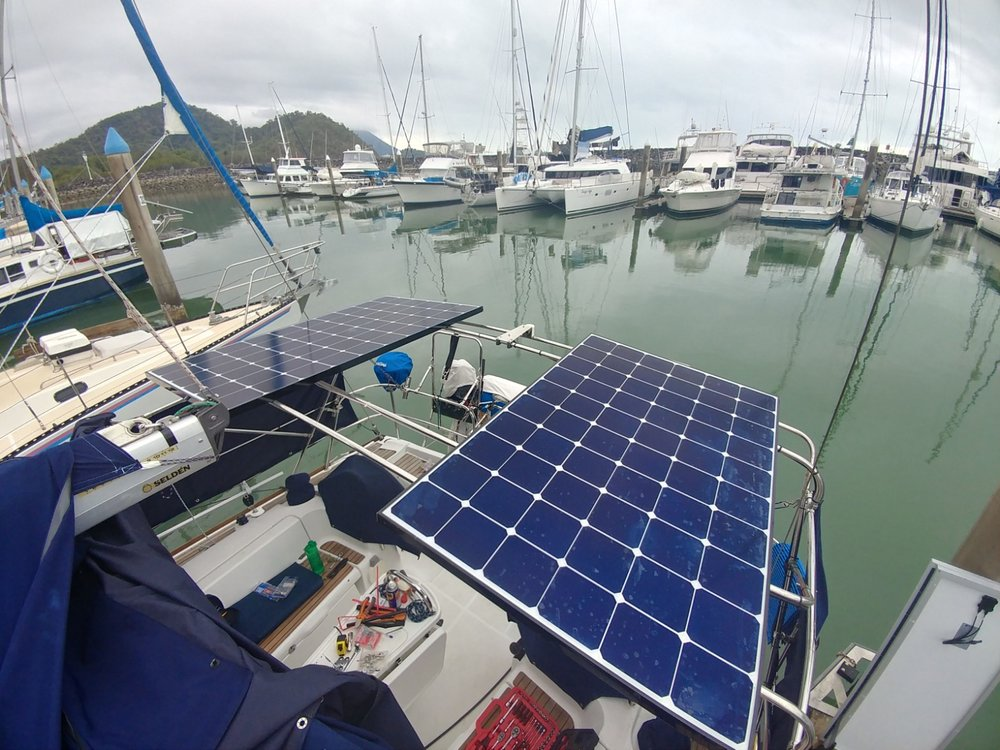2 x LG Neon R 360W solar panels (720W total).  Marine spec frames ideal for boats.