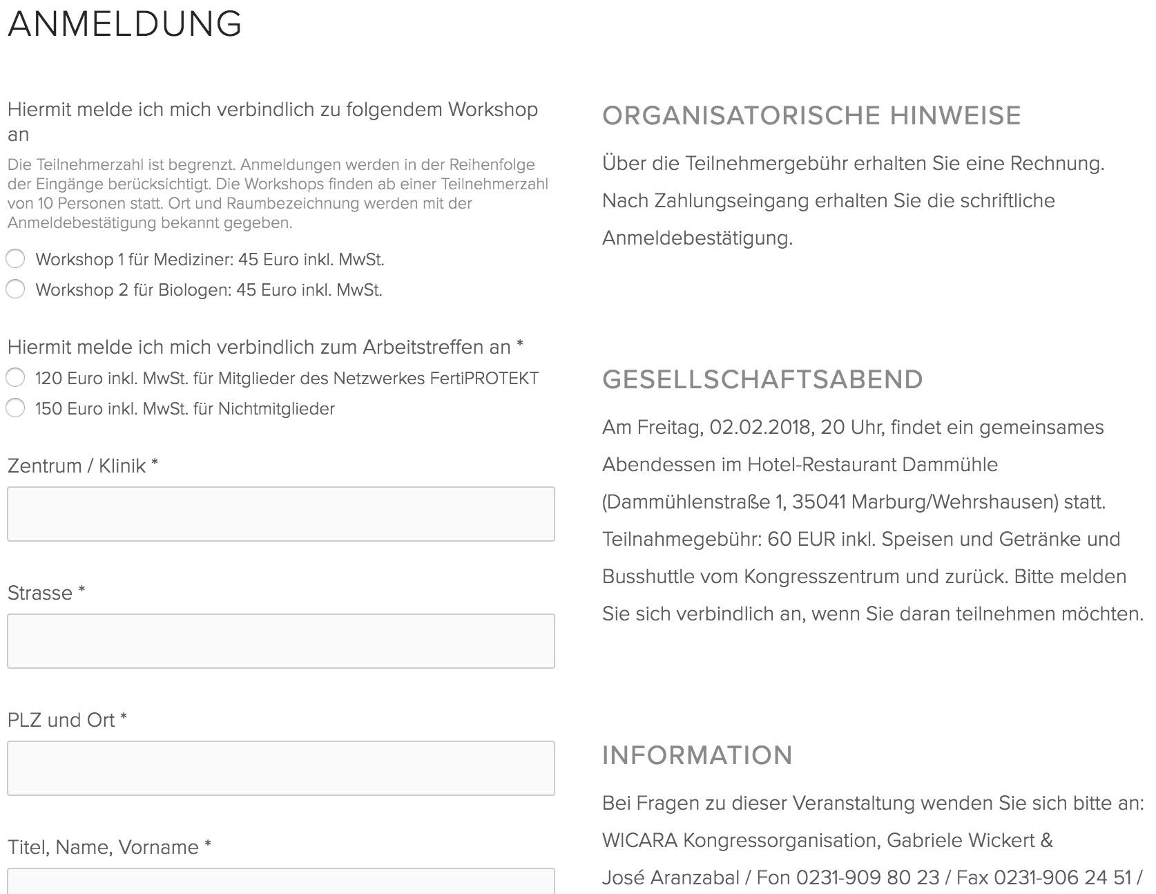 Anmeldung zum Arbeitstreffen in Marburg — FertiPROTEKT